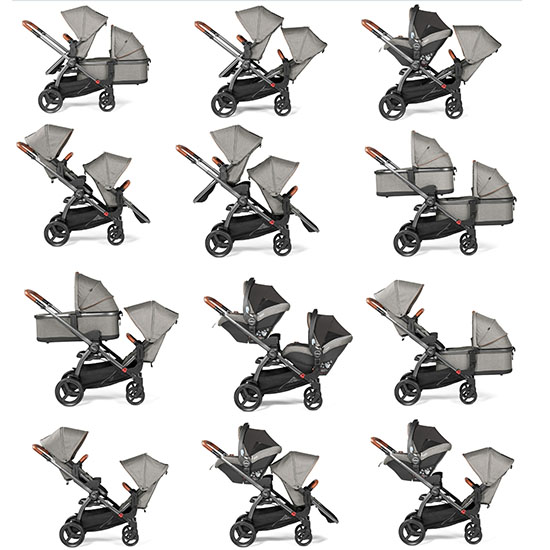 multiple images of the Peg Perego Agio Z4 stroller configurations